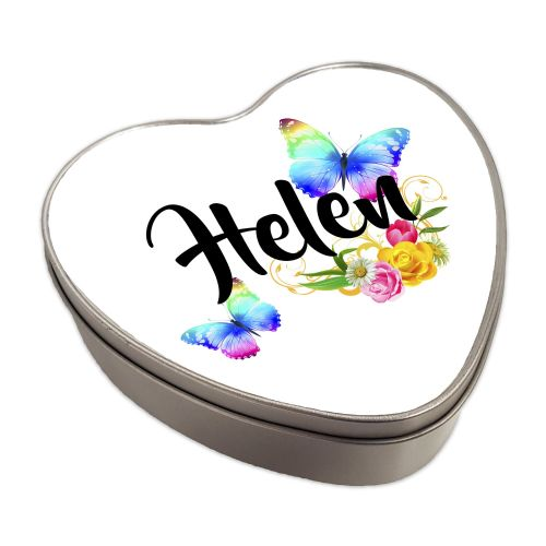 Personalised Beautiful Butterflies & Flowers Novelty Gift Heart Shaped Metal Keepsake Tin